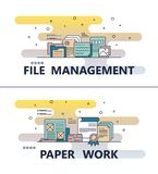 Vector line art file management paperwork template. File management and paperwork template set. Vector modern thin line art flat style design elements for Royalty Free Stock Photo