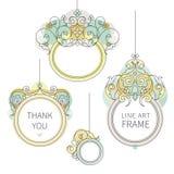 Vector line art frame for design template.