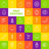 Vector Line Art Fruit Vegetable Icons Set Royalty Free Stock Photography