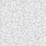 Vector line art grey leaves texture seamless Royalty Free Stock Photography