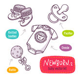 Vector line art icon set with baby products for newborns isolate Stock Photos