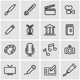 Vector line art icon set. On grey background Royalty Free Stock Images