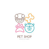 Vector line art illustration of dog head and cat muzzle. Simple logo icons design. Trendy concept for pet shop, pets care and grooming, veterinary Royalty Free Stock Photo