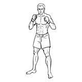 Vector Line Art Illustration - Muscular MMA Fighter. In Shorts and Gloves Royalty Free Stock Photos