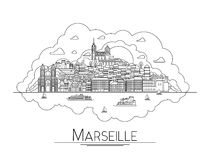 Vector line art Marseille, France, travel landmarks and architecture icon. The most popular tourist destinations Royalty Free Stock Image