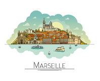 Vector line art Marseille, France, travel landmarks and architecture icon. The most popular tourist destinations Stock Photos