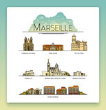 Vector line art Marseille, France, travel landmarks and architecture icon set. The most popular tourist destinations Royalty Free Stock Photos