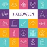 Vector Line Art Modern Halloween Holiday Icons Set Royalty Free Stock Image