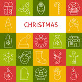 Vector Line Art Modern Merry Christmas Holiday Icons Set Stock Photography