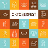 Vector Line Art Modern Oktoberfest Beer Holiday Icons Set Royalty Free Stock Photos