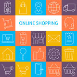 Vector Line Art Modern Online Shopping Icons Set Stock Image