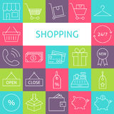 Vector Line Art Modern Shopping and Retail Icons Set Stock Image