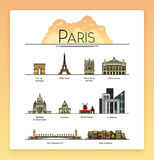 Vector line art Paris, France, travel landmarks and architecture icon set. The most popular tourist destinations. Set of the Paris, France, the most famous vector illustration