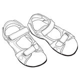 Vector Line Art of Sandals. Royalty Free Stock Photo
