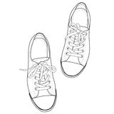 Vector Line Art of Sneakers. Stock Photography