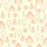 Vector line art style happy birthday seamless Royalty Free Stock Image