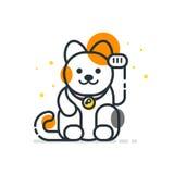 Vector line art style illustration of Japanese Lucky Cat Maneki Neko. Royalty Free Stock Image