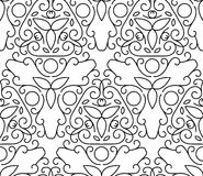 Vector line art style seamless pattern. Abstract floral decorati Royalty Free Stock Image