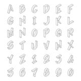 Vector line art transparent alphabet in isometric style Stock Photos