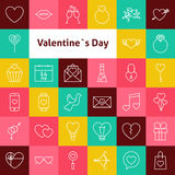 Vector Line Art Valentine Day Icons Set Royalty Free Stock Images
