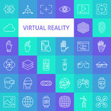 Vector Line Art Virtual Reality Icons Set Royalty Free Stock Photos