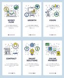 Vector line art web and mobile app template set. Vector set of mobile app onboarding screens. Money flow, Growth, Vision, Contract, Smart solutions, Online vector illustration