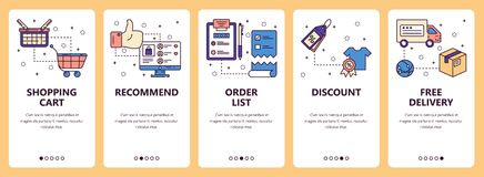 Vector line art web and mobile app template set Stock Image