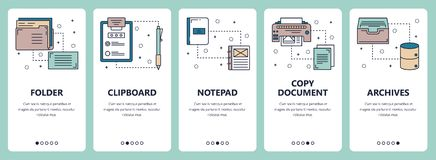 Vector line art web and mobile app template set. Vector set of vertical banners with Folder, Clipboard, Notepad, Copy document, Archives website and mobile app Stock Photos