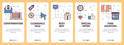 Vector line art web and mobile app template set. Vector set of vertical banners with Confirmation, Clearance sale, Best buy, Special offer, Find location website Royalty Free Stock Photos