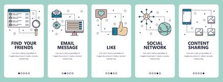 Vector line art web and mobile app template set. Vector set of vertical banners with Find your friends, Email message, Like, Social network, Content sharing Stock Image