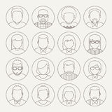 Vector Line Avatars. On grey background Royalty Free Illustration