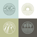Vector line badges with landscapes Stock Photo