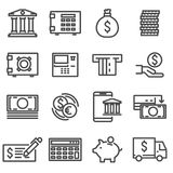 Vector line bank icons set. On white background Royalty Free Stock Photo