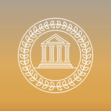 Vector line banking icon and logo. Business concept - bank building Stock Images