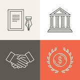 Vector line bankingg icons and logos Royalty Free Stock Photo
