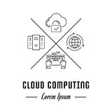 Vector Line Banner Cloud Computing. Vector logo cloud computing. Hipster emblem, label or banner for web and app. Line sign with elements. Concept brand Stock Image