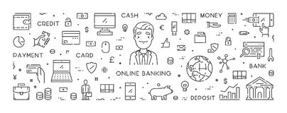 Vector line banner for online banking Royalty Free Stock Image