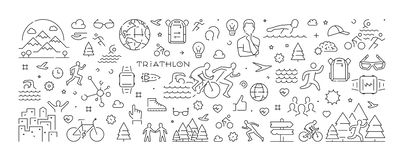 Vector line banner for triathlon and triathlete Stock Photography