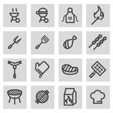Vector line barbecue icons set Stock Images