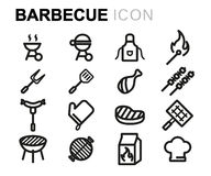 Vector line barbecue icons set Royalty Free Stock Photo