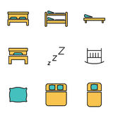 Vector line bed icon set Stock Image