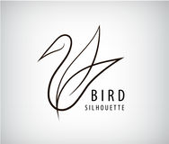 Vector line bird logo, pigeon silhouette, flying abstract logo, icon Stock Images