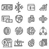 Vector line Bitcoin icons set. Cryptocurrency symbols Stock Photography