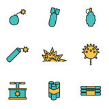 Vector line bomb icon set Royalty Free Stock Image