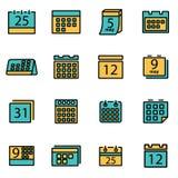 Vector line calendar icon set Royalty Free Stock Photos