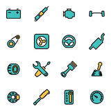 Vector line car parts icon set Stock Photos