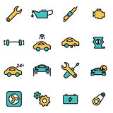 Vector line car service icon set Royalty Free Stock Photography