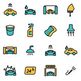 Vector line car wash icon set Royalty Free Stock Images