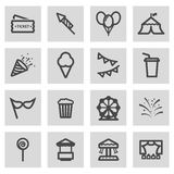 Vector line carnival icons set Royalty Free Stock Photo