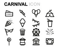 Vector line carnival icons set Royalty Free Stock Image